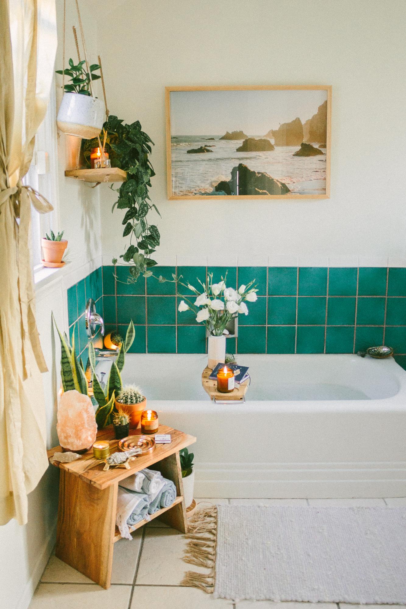 boho bathroom blue green bath tile