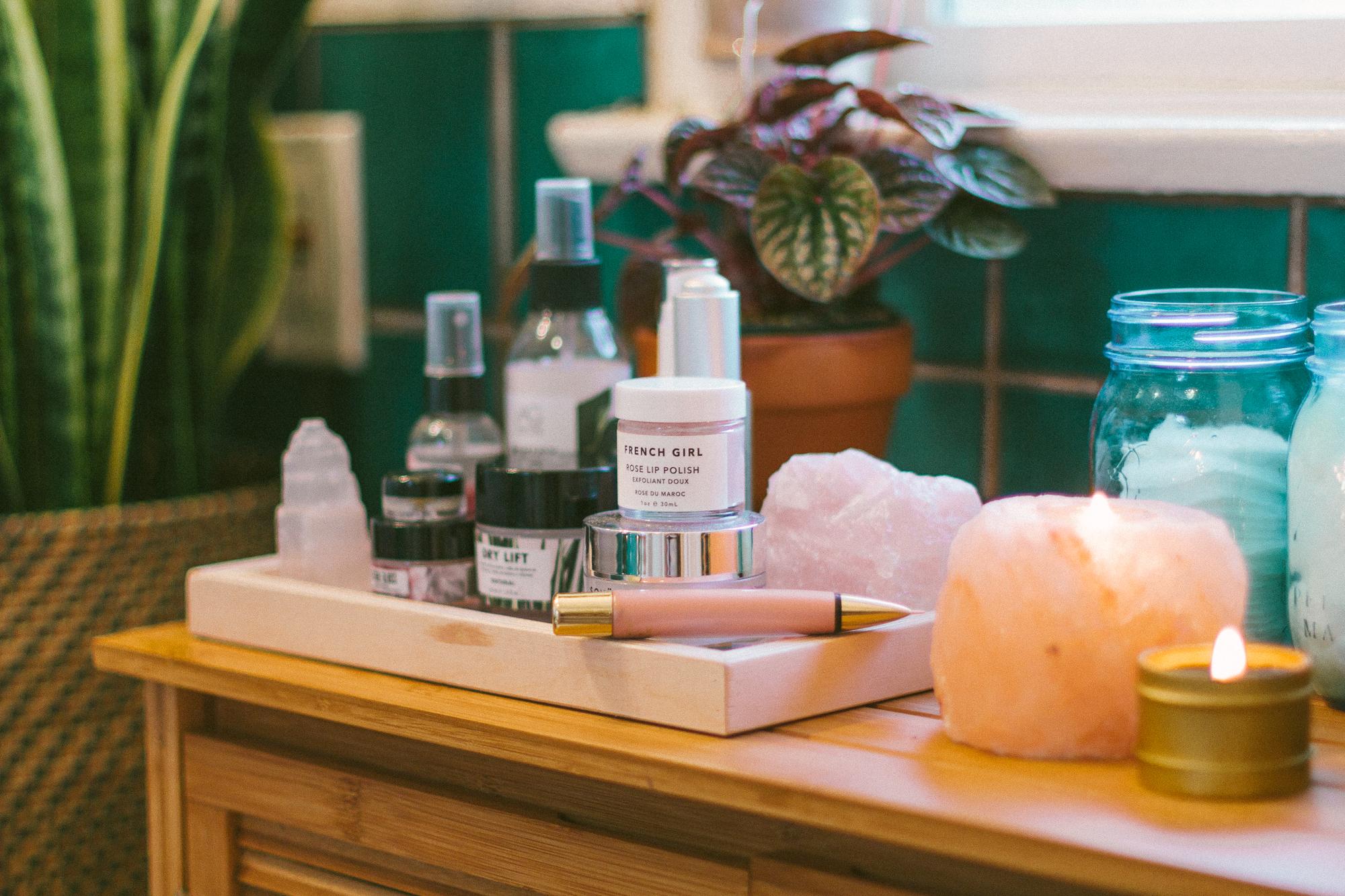 boho bathroom beauty products display
