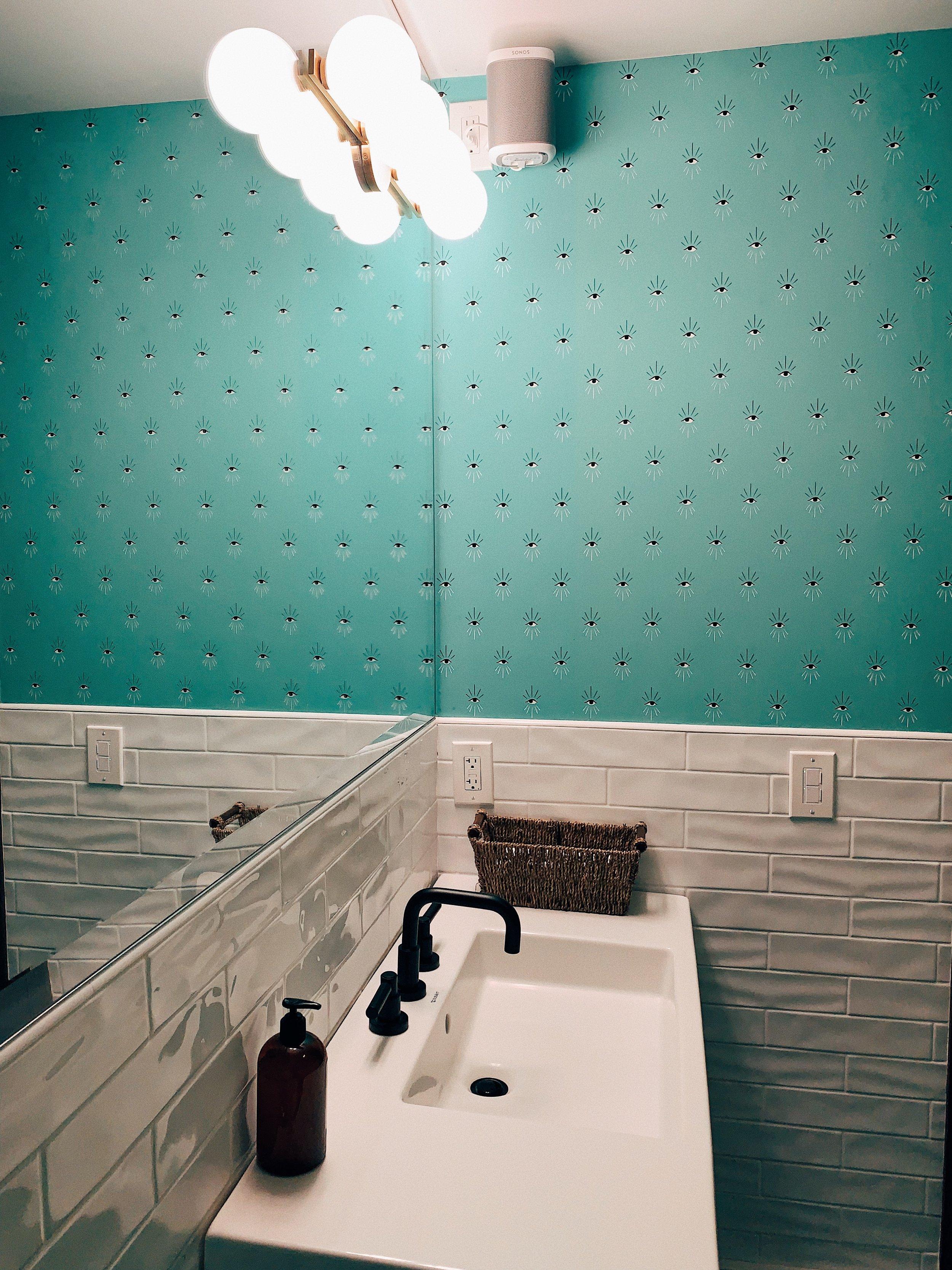 skyview motel bathroom wallpaper