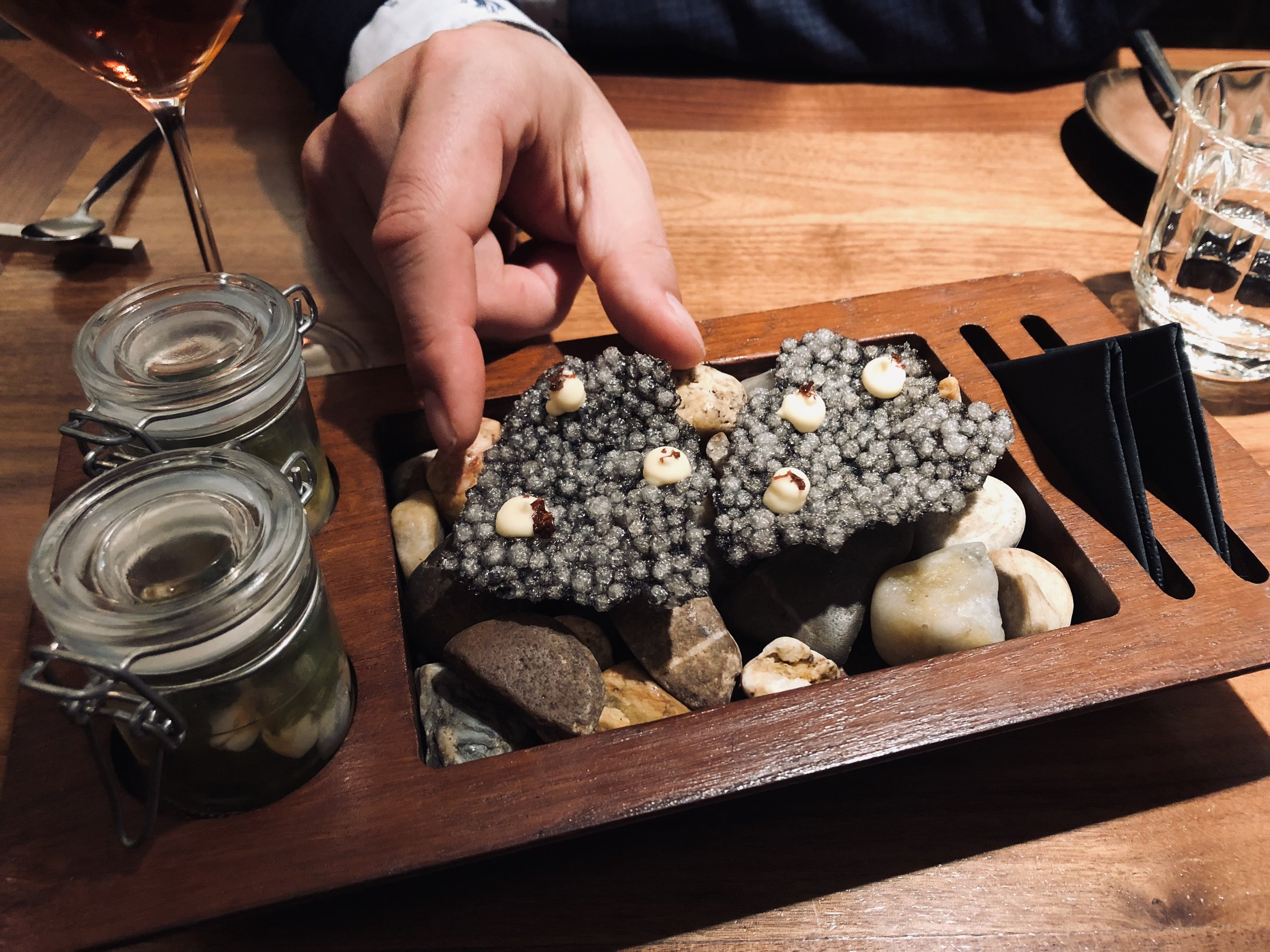 squid ink crisps at ALMA