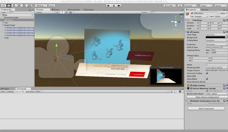 Screenshot of Unity using Vuforia.