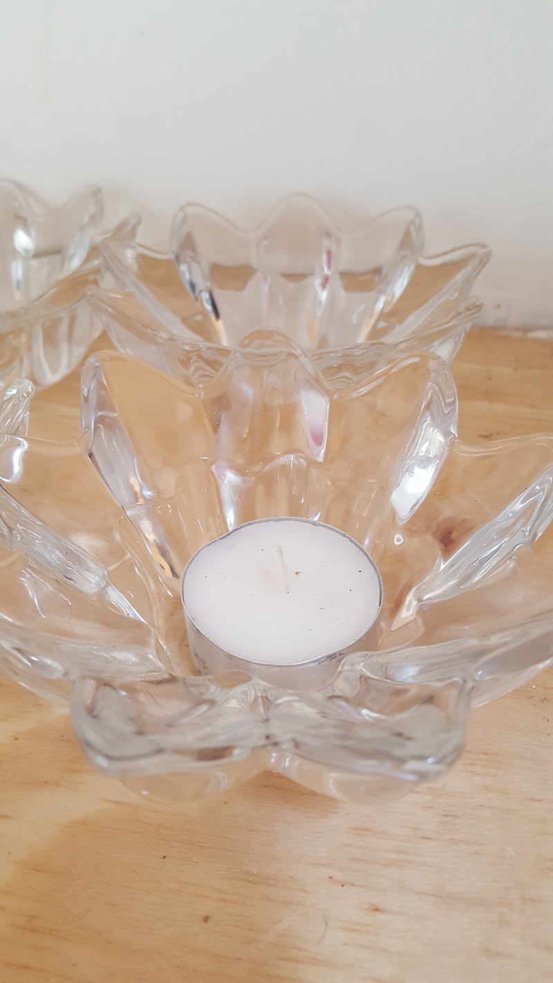 Glass Lotus candle holders