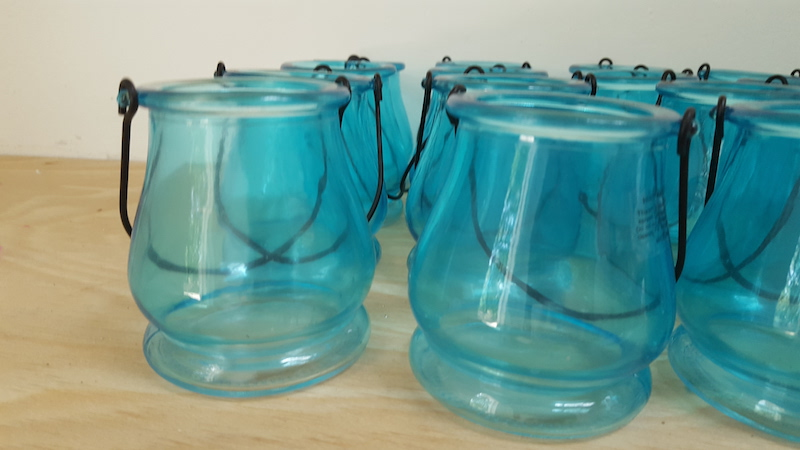 Turquoise glass candle holders