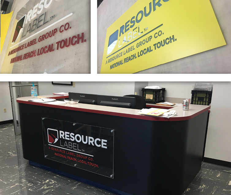 Resource Label Group Lobby ReBranding Logo Sign and Front Desk