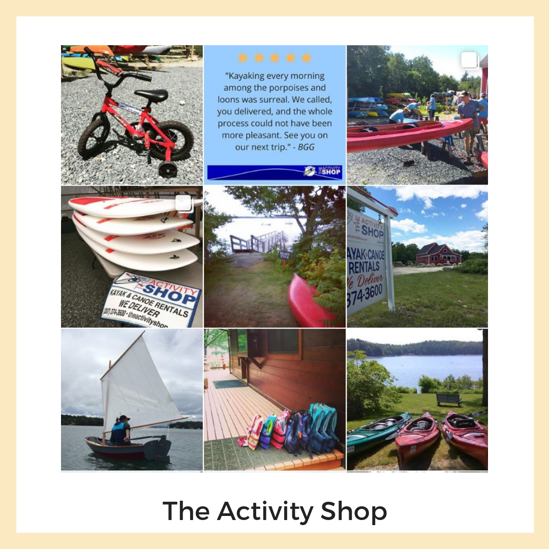 The Activity Shop, Blue Hill, Maine. Social Media + Email Marketing