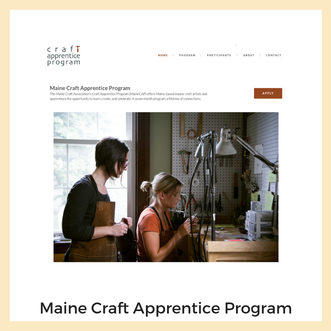 Maine Craft Apprentice Program for Maine Crafts Association.  Website, Application + Form workflow