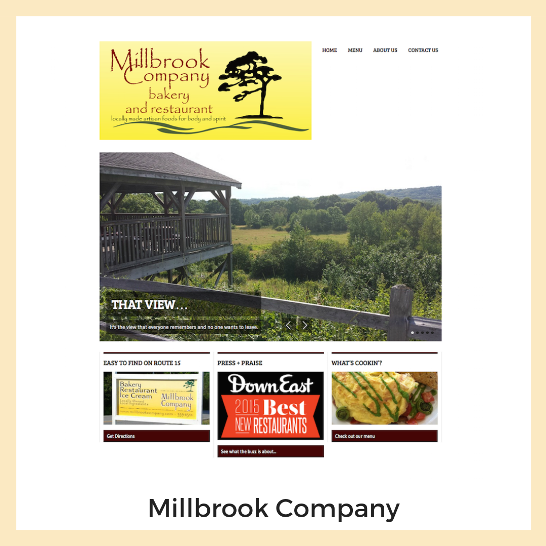 Millbrook Company Bakery + Restaurant. Sedgwick, Maine. Website, Content Strategy + Copy Writing