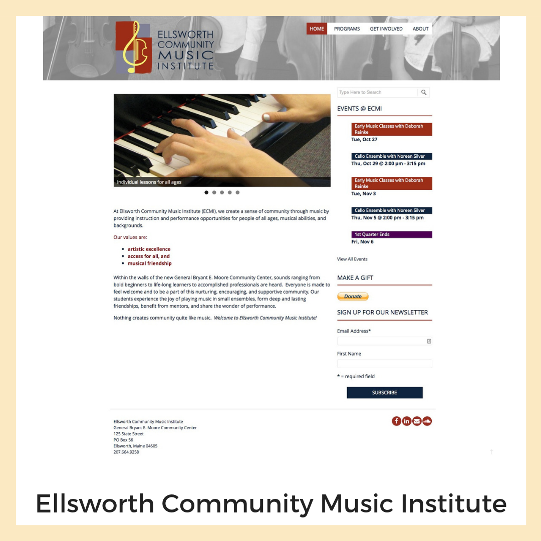 Ellsworth Community Music Institute. Website support by Beehive Development.