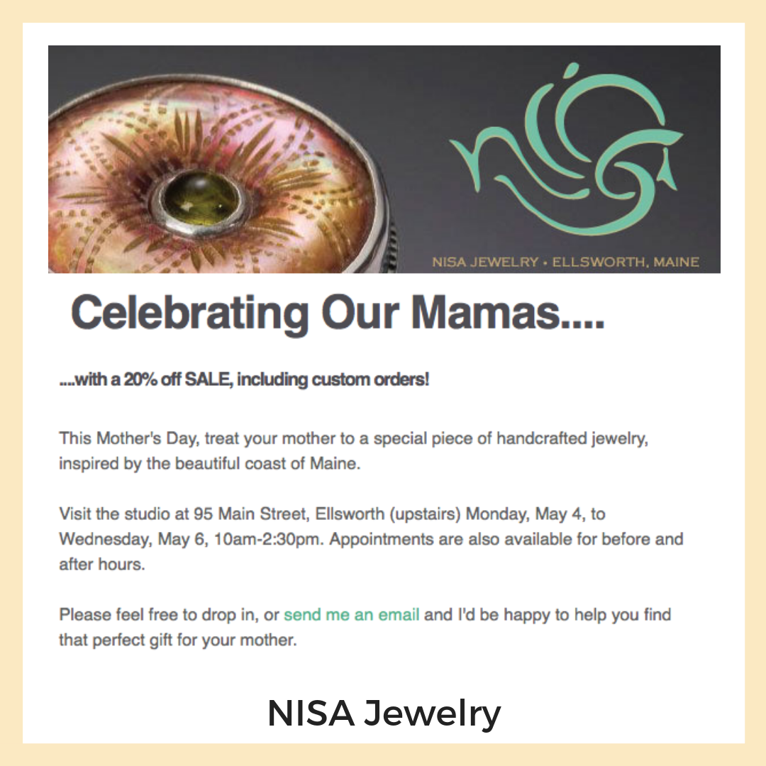 NISA Jewelry. Ellsworth, Maine. Newsletters + Email Marketing, Content Strategy + Copy Writing.