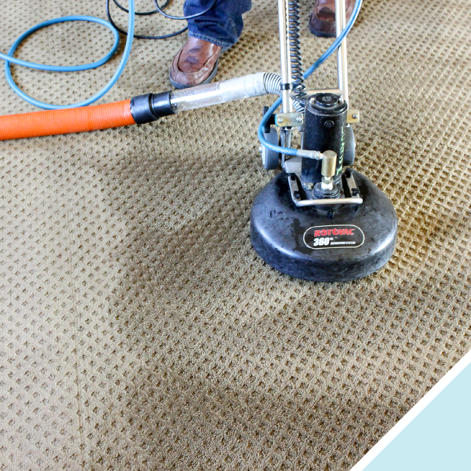 Rotary Extraction cleans much deeper than traditional wand cleaning. We recommend using this method on high traffic areas like hallways.