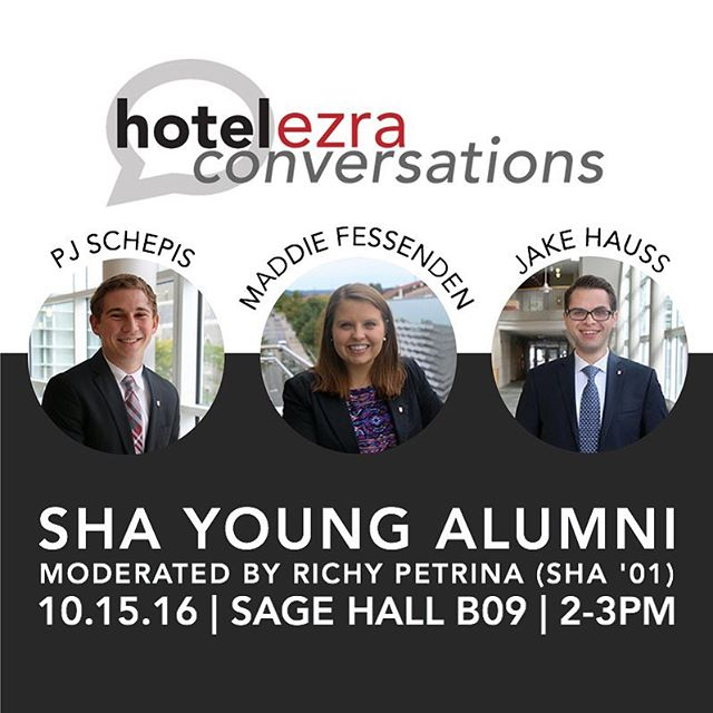 Excited to hear from this panel of recent SHA graduates and learn about their experiences after Cornell this Saturday! Don't forget to register for the event on Facebook. 💬💡// #HEC92 #hotelezraconversations