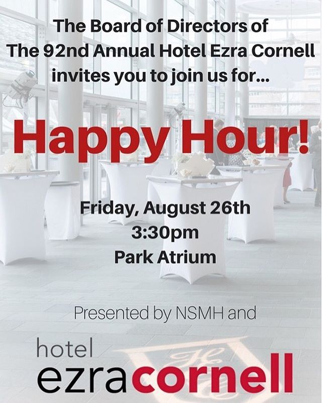Join us for light refreshments and mocktails on Friday, August 26 at 3:30pm at the HEC Happy Hour in the Park Atrium in Statler Hall! This event is a great opportunity for first-year students to network with other students and the Board of Directors of The 92nd Annual Hotel Ezra Cornell. We hope to see you there!