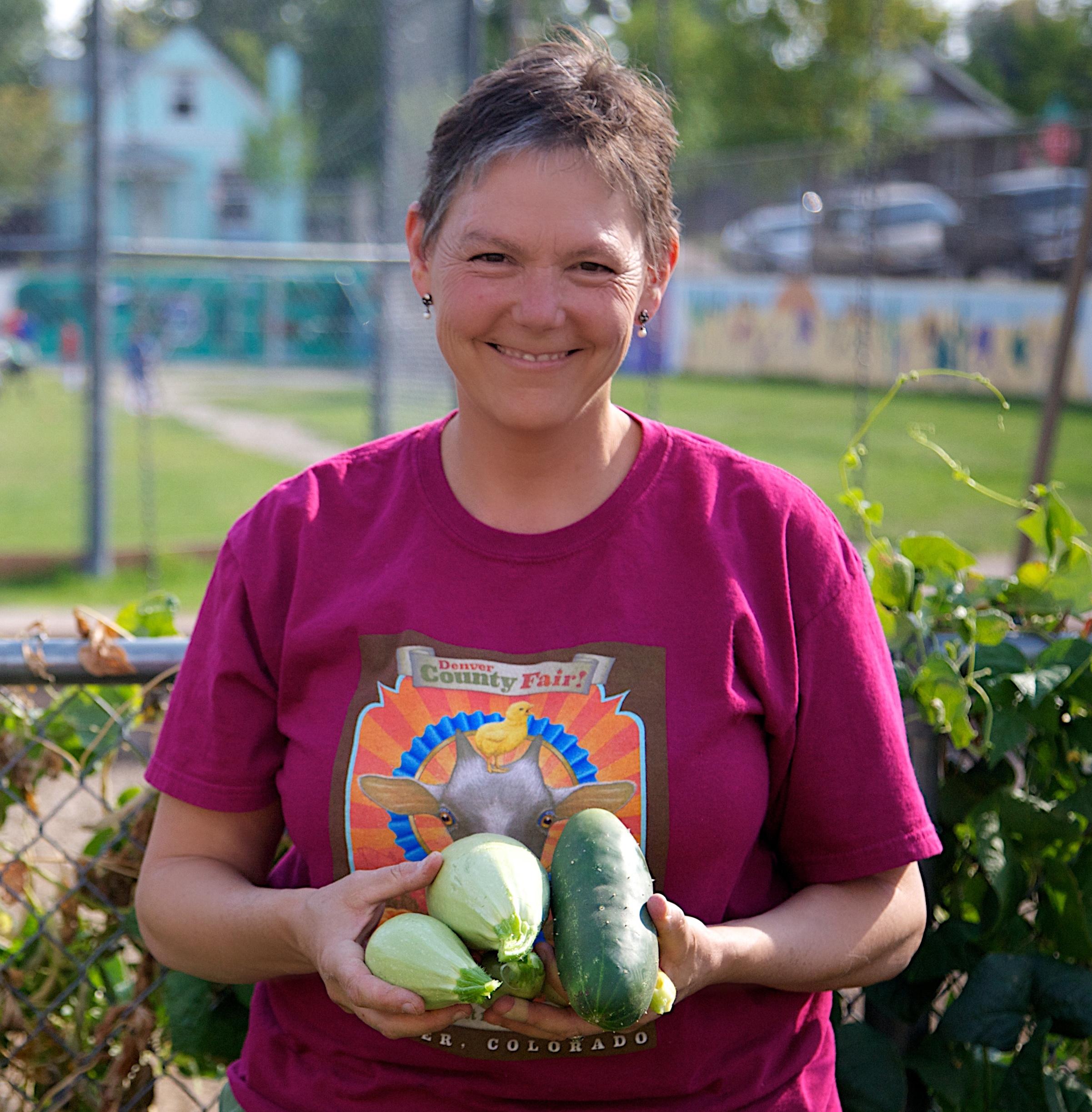 Gigia in the Eagleton School Garden