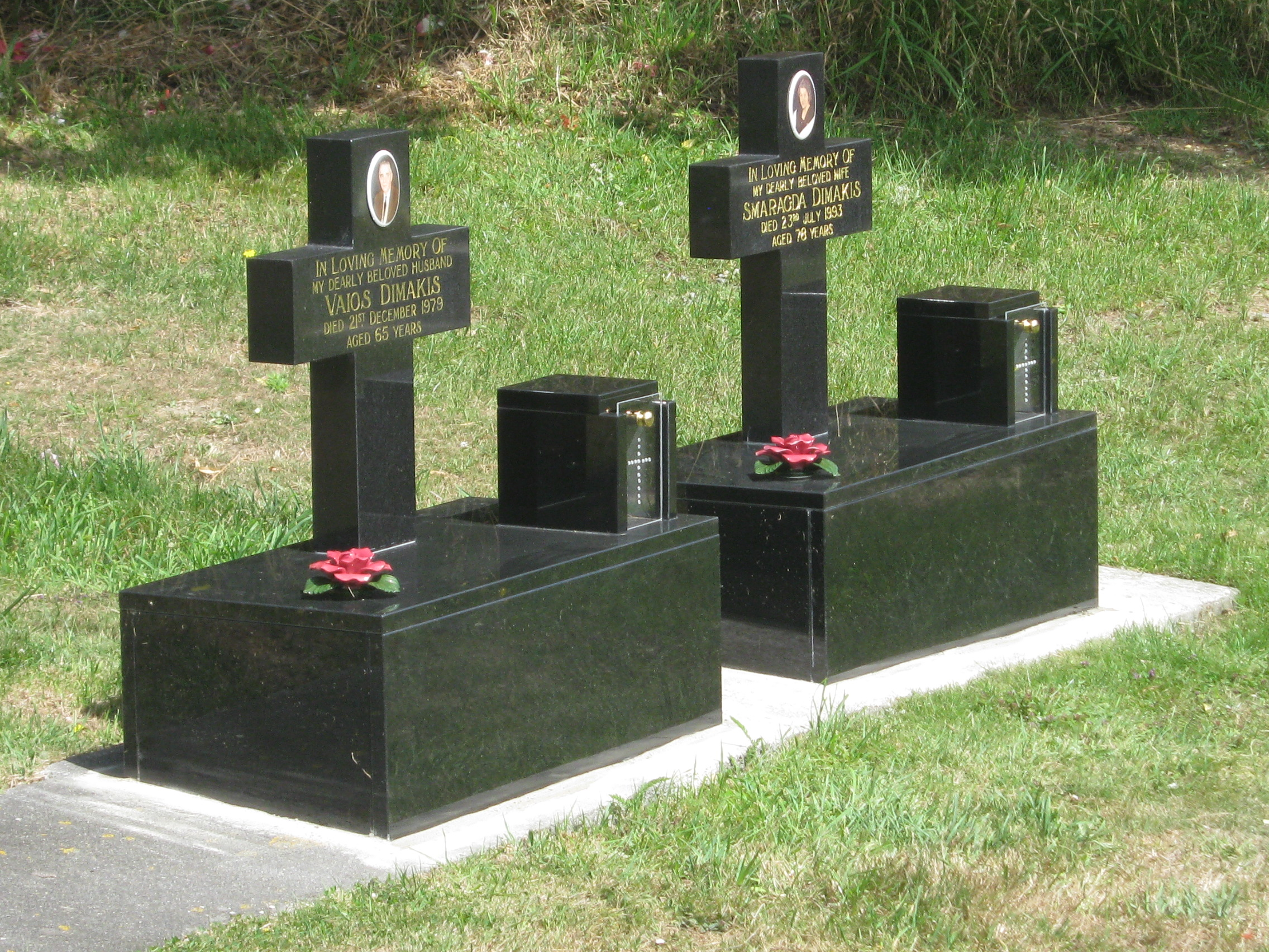 Black granite cross headstone