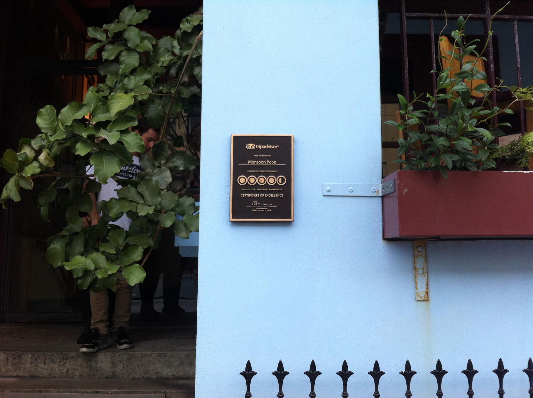 Monsoon Poon Restaurant Wellington. Bronze plaque.JPG