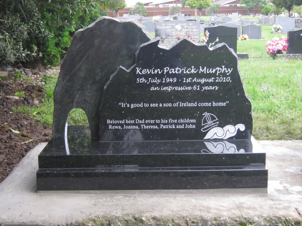 Jade Green. Black Granite Headstone. Train. Mountain. Custom Design (2).JPG