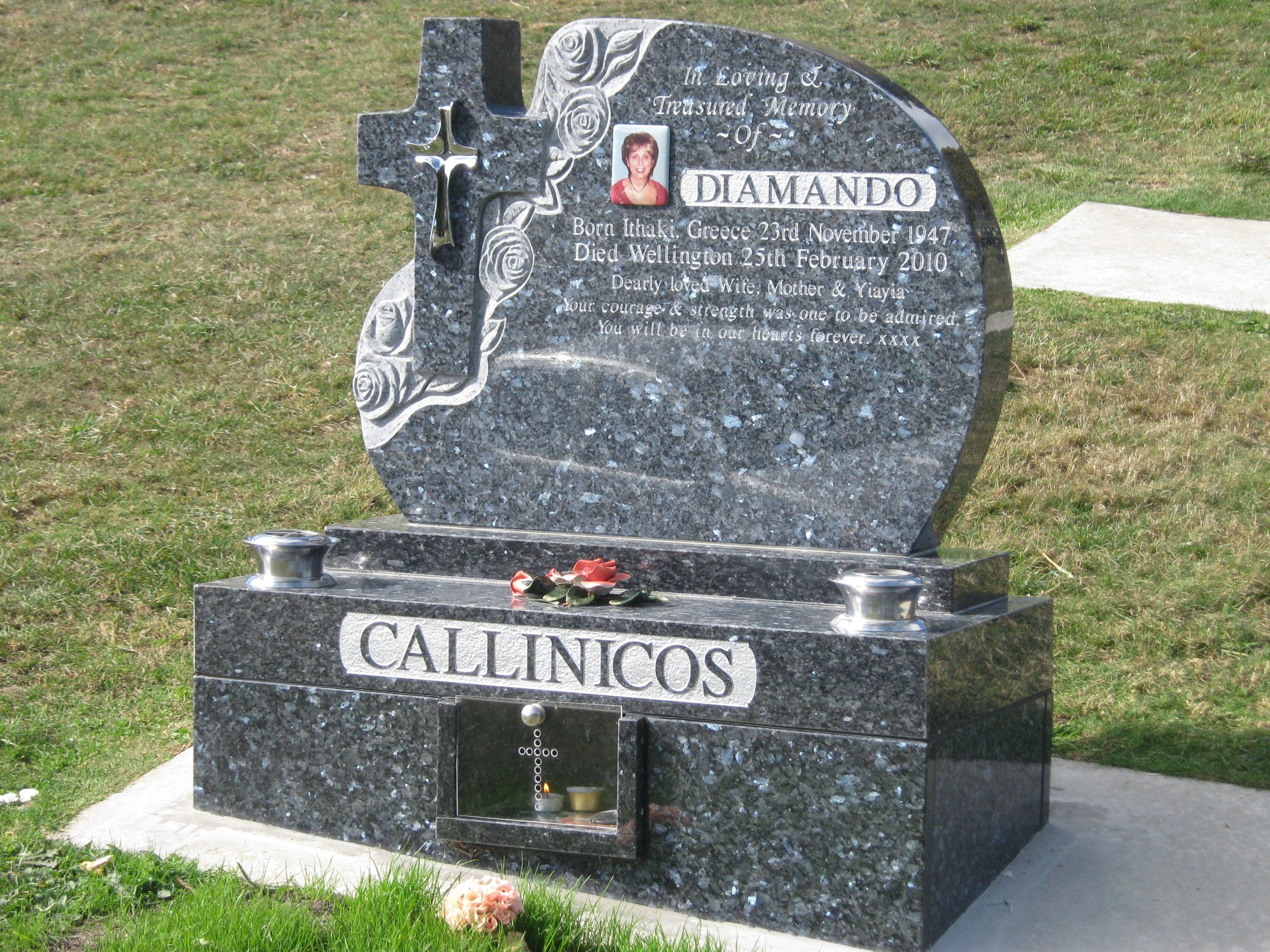 Paua Blue Granite. Headstone. Cross. Custom Design.jpg