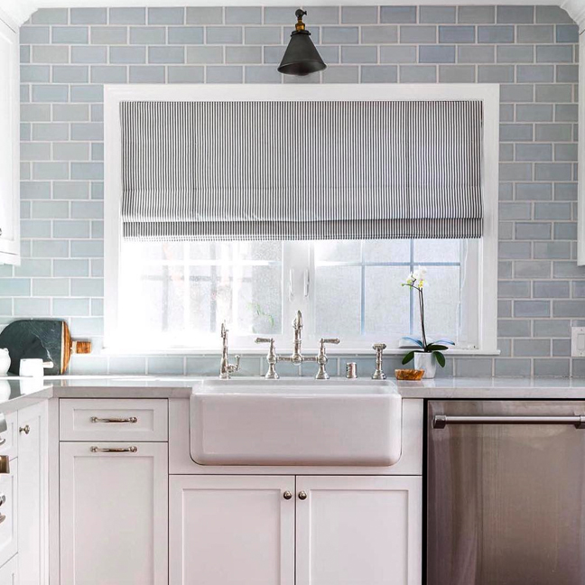 Our kind of #Monday blues. We love our Architectonics tile in @ritadonahoe's beautiful #kitchenrenovation project. #WaterworksKitchen