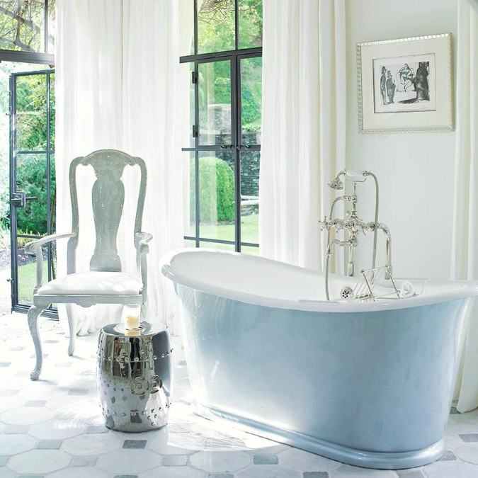 "In her new book, #ThePerfectBath, Barbara Sallick says that ""with its fresh palette, natural light and just-right tub fitting, [@Beth Webb Interiors] has designed the ultimate perfect bath."""