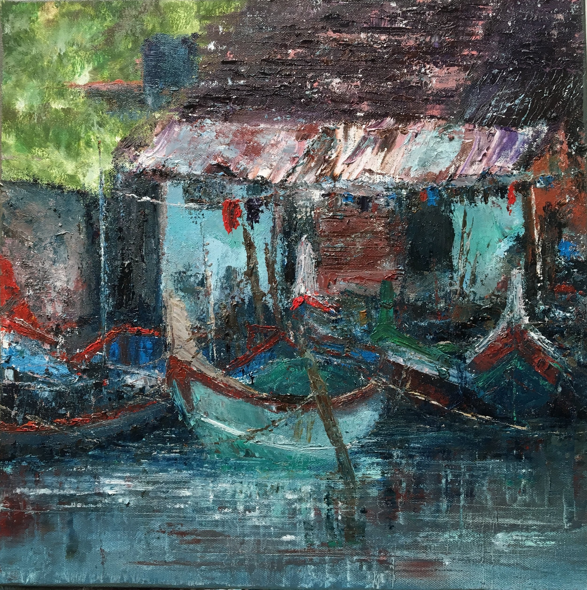 Allepy, Kerala, Oil, 16 * 16, SOLD