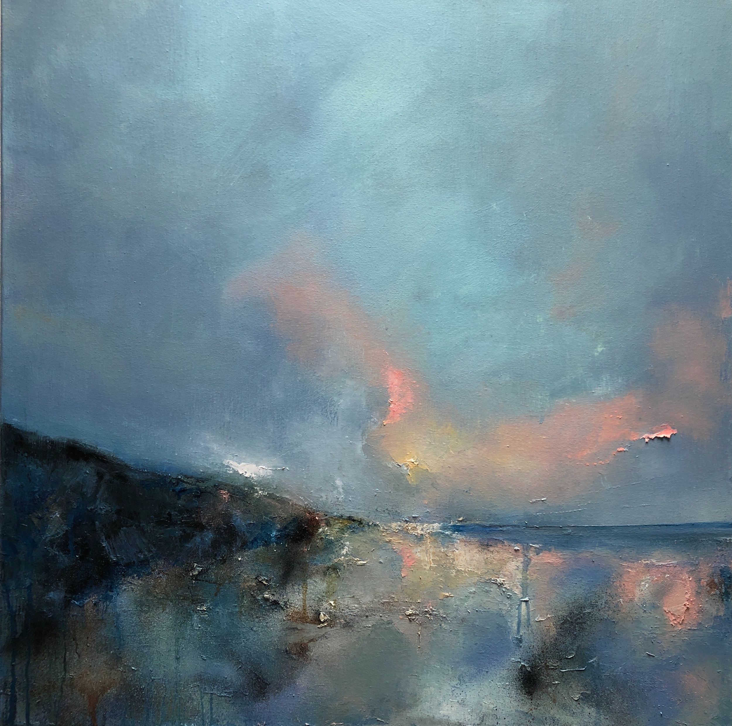 "Evening reflections, oil on canvas, 30"" x30 """