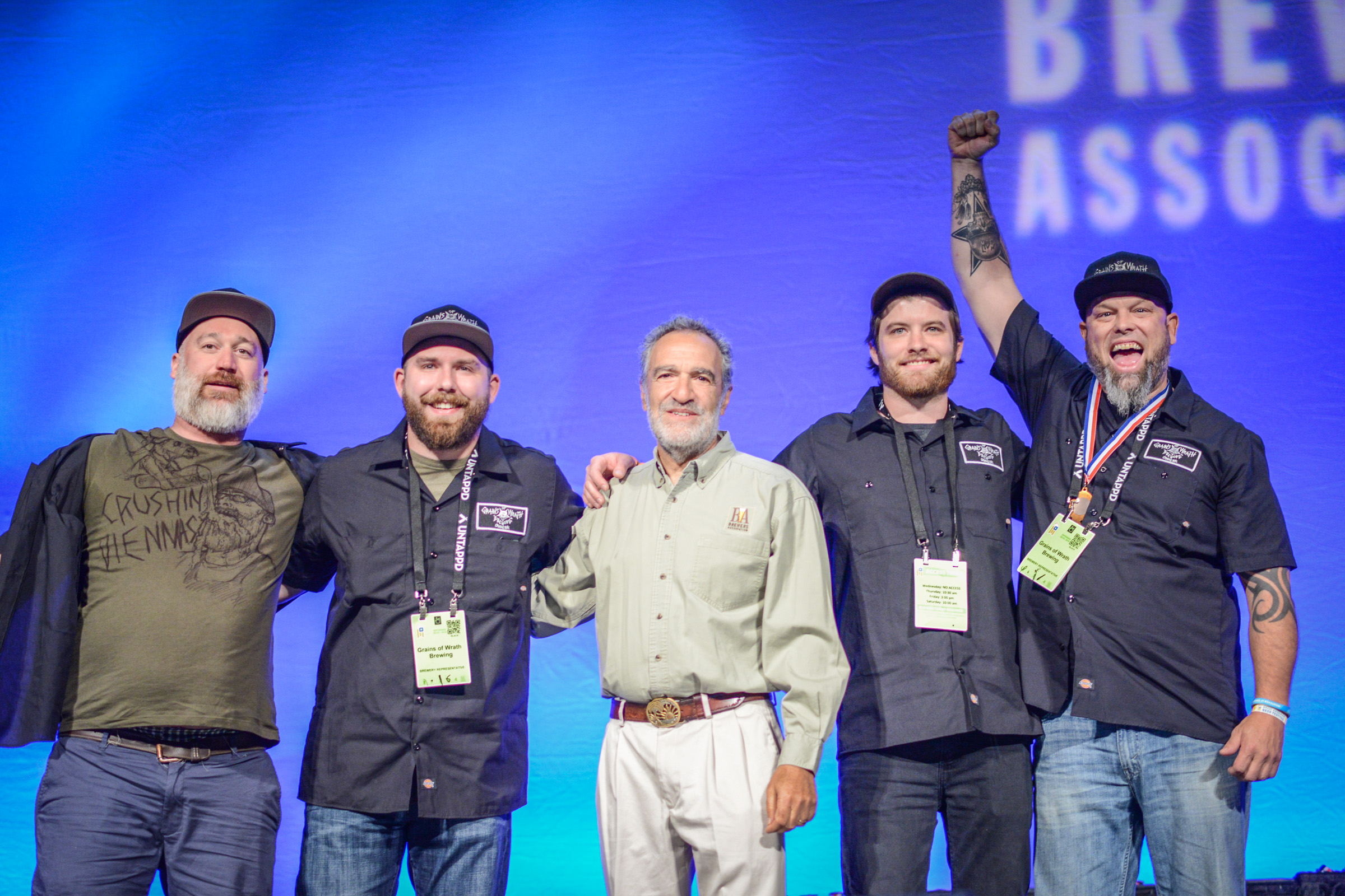 Grains of Wrath of Camas, Washington on stage at the Great American Beer Festival Awards
