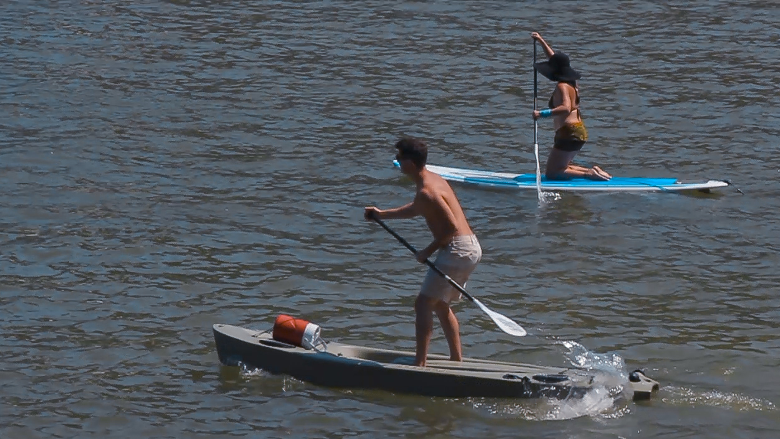 Our Starboard Hybrid SUP out on the water in Mismaloya Bay
