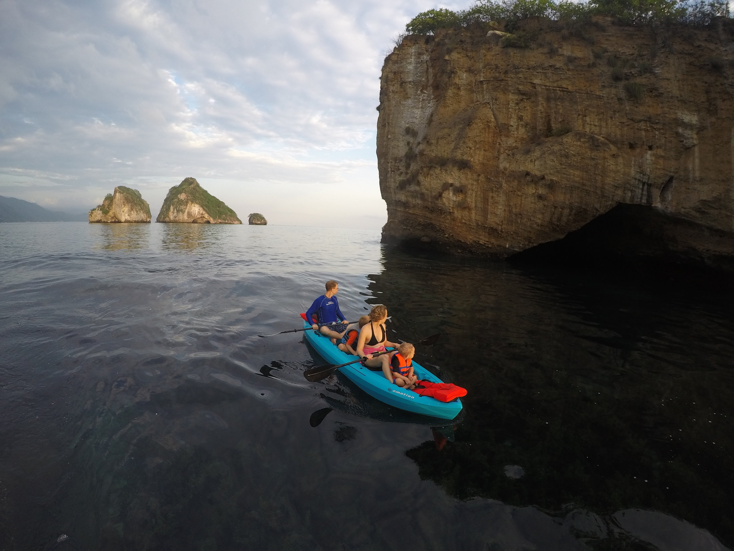 Tandem Kayak with the family in Los Arcos Marine Park  *Please note, you must book a Los Arcos Tour to visit the islands by kayak
