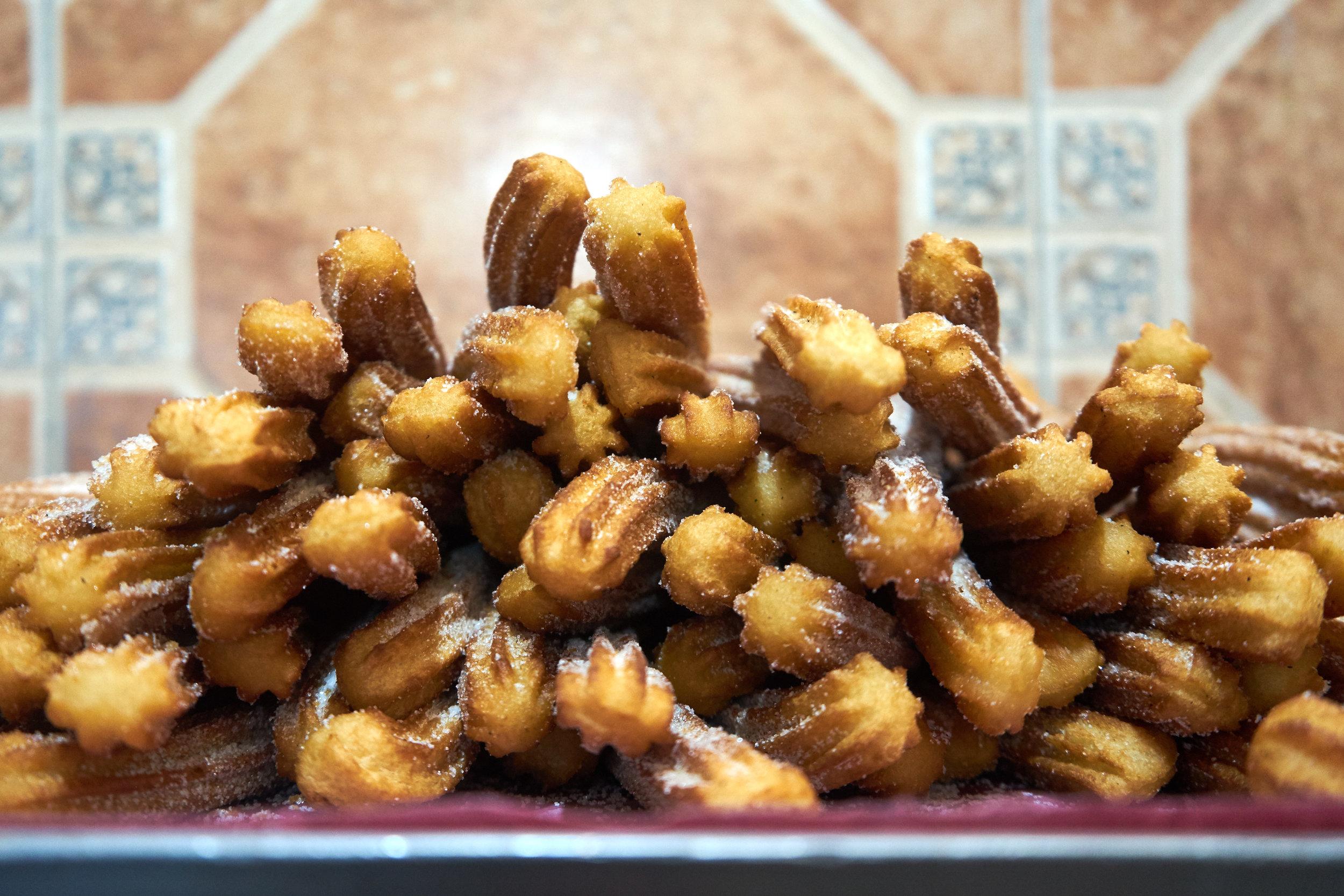 Eternally stacked churros at Fonda Margarita.