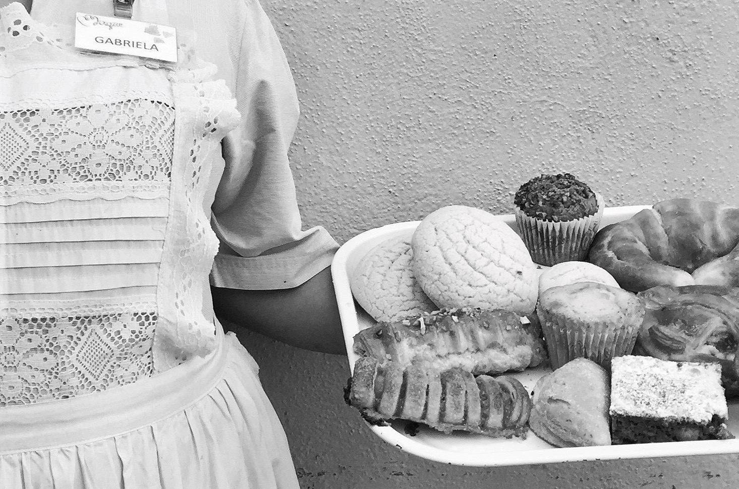 Conchas and cuernitos in Maque's meandering pastry basket.