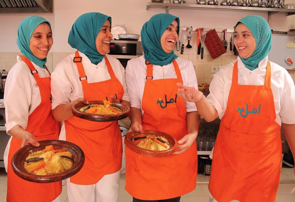 Friday couscous prep with the women of Amal.