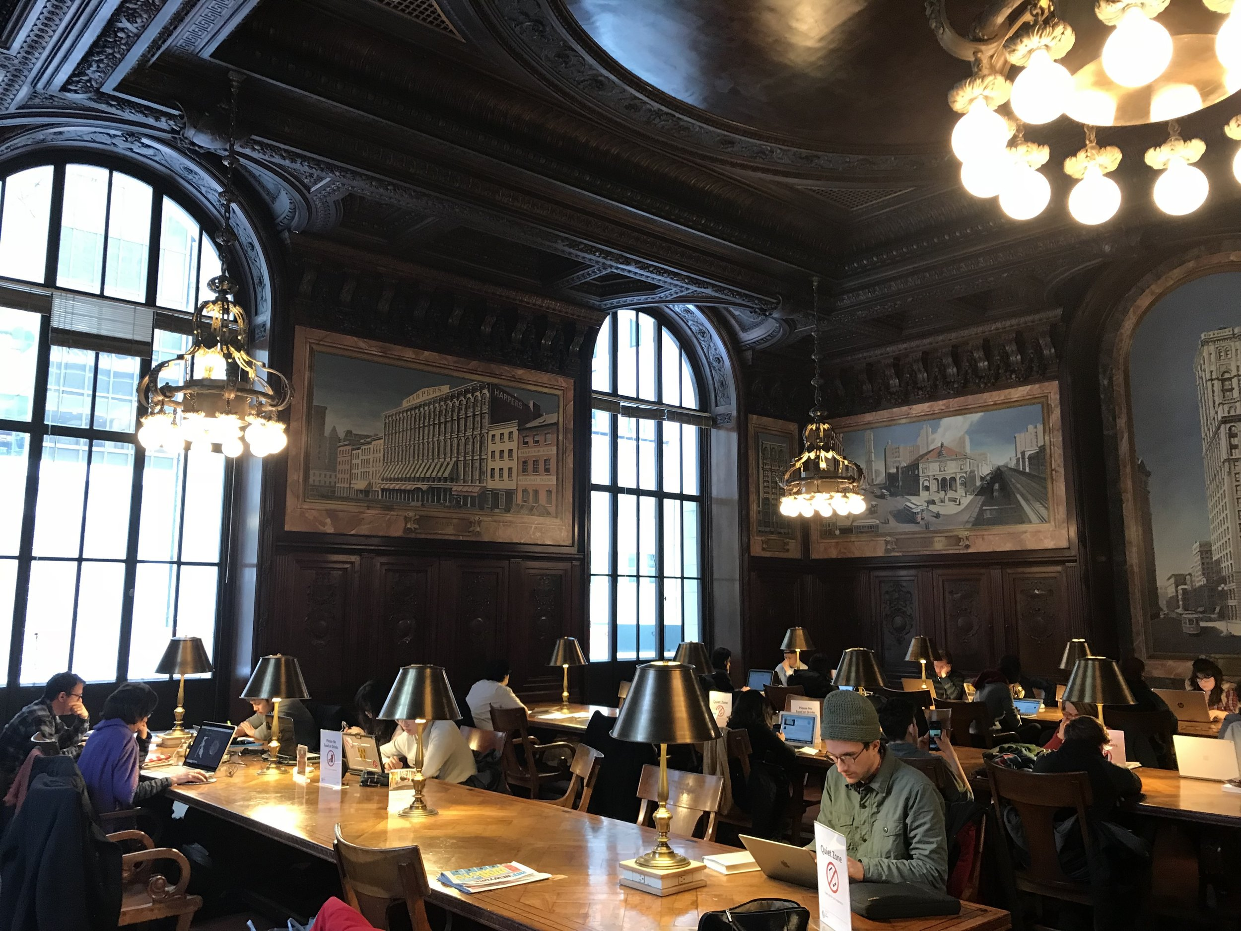 The 42nd Street New York Public Library has the reverent quiet of the singularly purposed