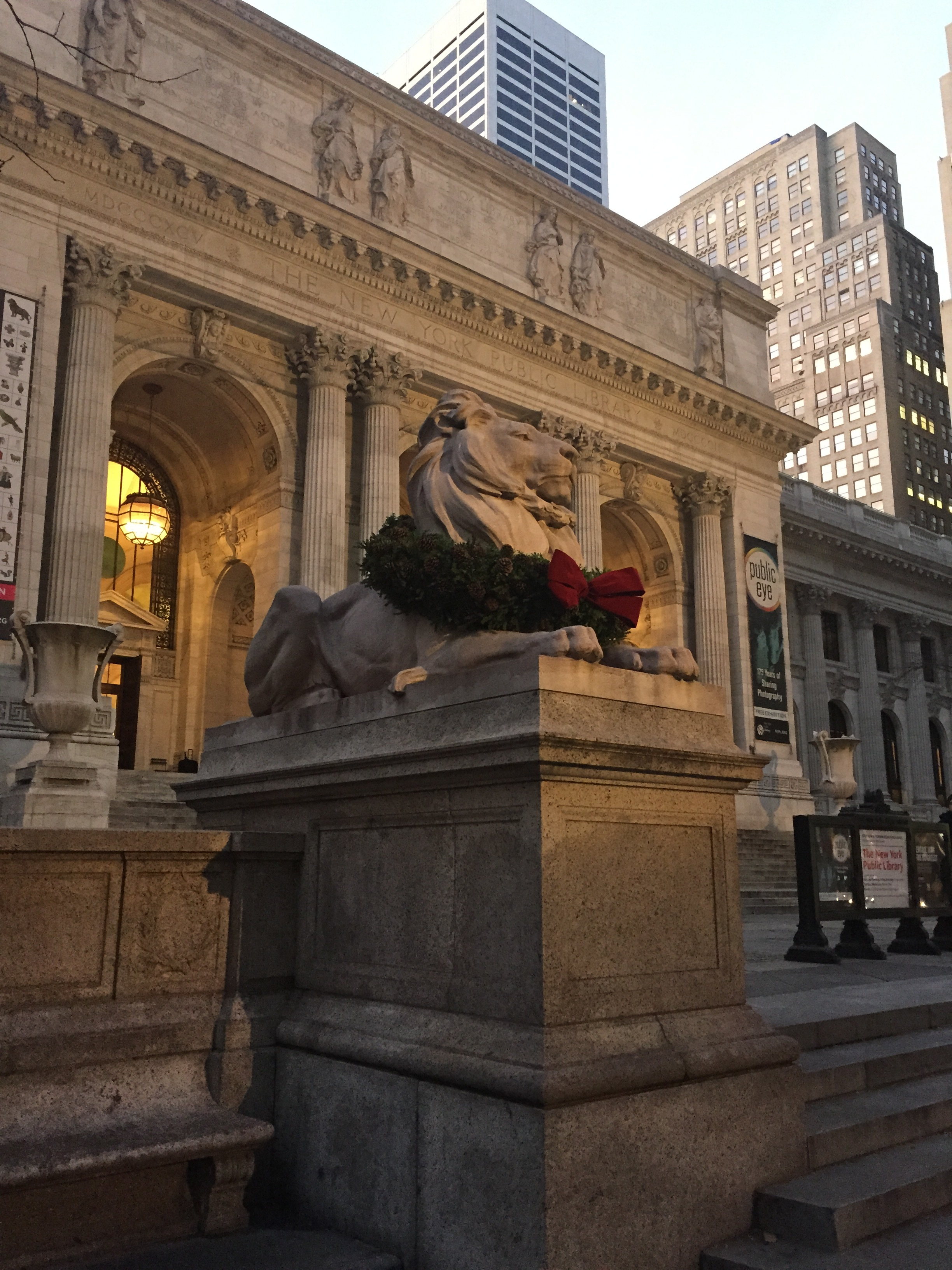 Patience the lion greets and guards the 5th Avenue entrance to the New York Public Library