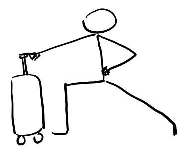 Luggage Lunge - Taking a wide stance, bend your right knee, with your right foot pointed outward, and lengthen your left leg, with the left foot pointing forward. Use your roller luggage handle to stabilize.