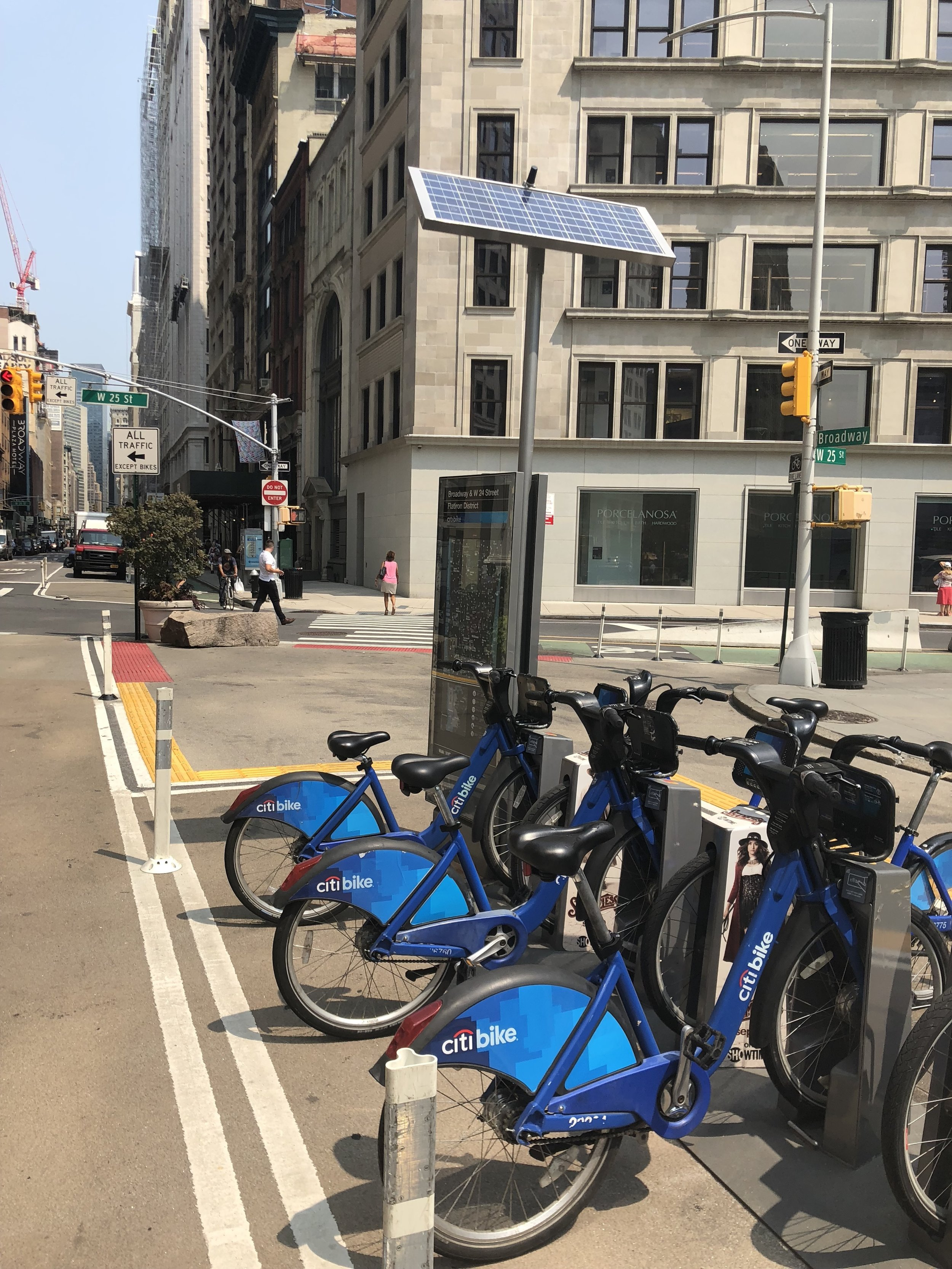 Citi Bike docking station in beautiful, sunny Madison Square Park