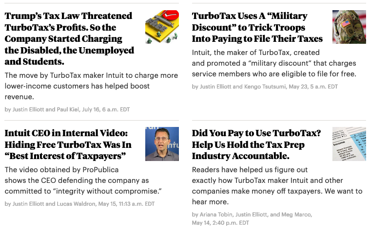 Journalist Justin Elliott reported extensively with ProPublica on the nature of TurboTax dark patterns that guided users away from free tax filings.