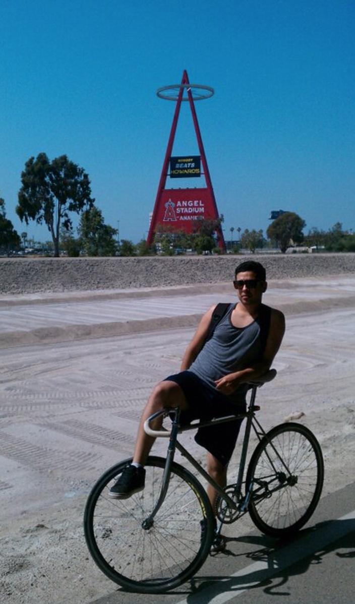 Taking a break under a bridge by the Angels Stadium in Anaheim, Ca.  P.S nobody beats HOWARDS.