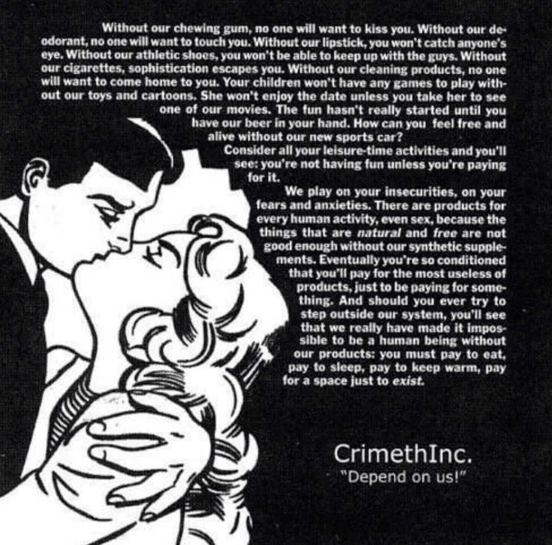 Crimethinc. poster on the dependency of desire.
