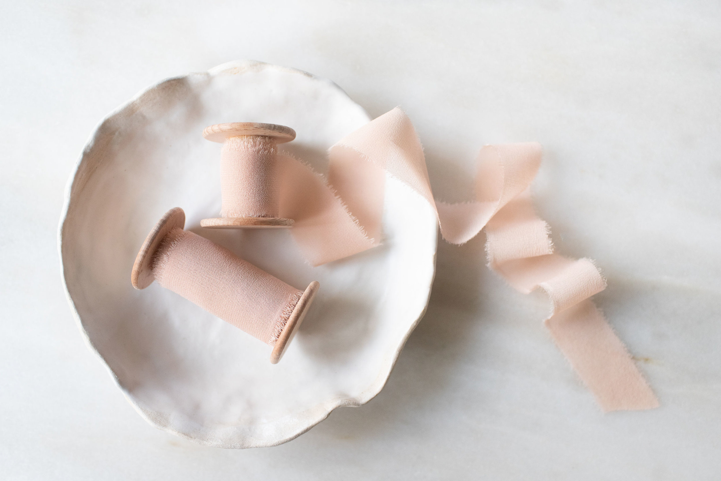 Silk Chiffon Ribbon - The perfect accompaniment to bouquets, invitations and styled shoot flat lays; delicate and dreamyAvailable in 2.5cm and 5cm (1 and 2 inch) widths.