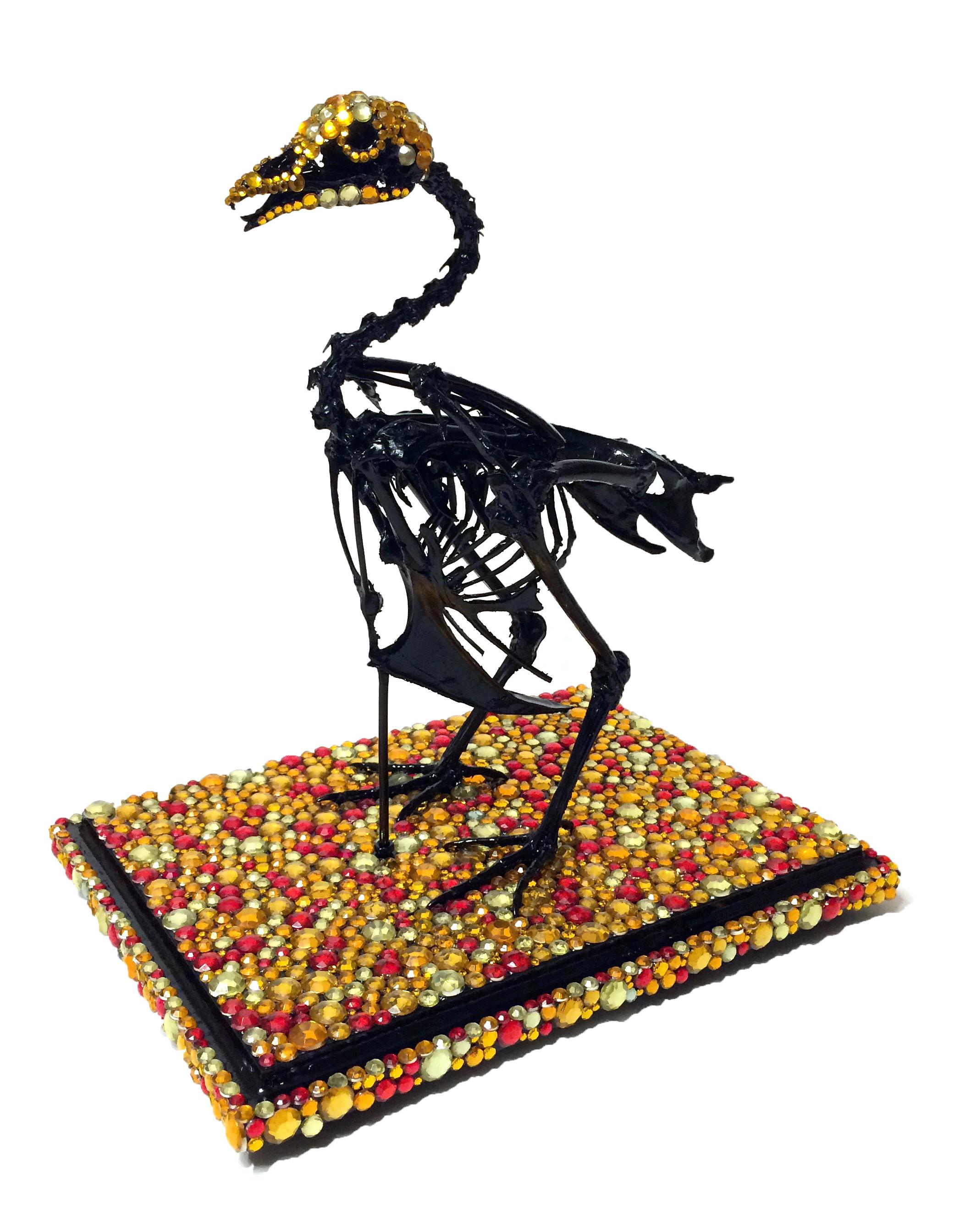 """胡說 (""""Poppycock"""") , 2016  Articulated rooster skeleton, acrylic rhinestones, paint, wooden base, acrylic vitrine  14 X 11 X 8 in  View Artsy to purchase"""
