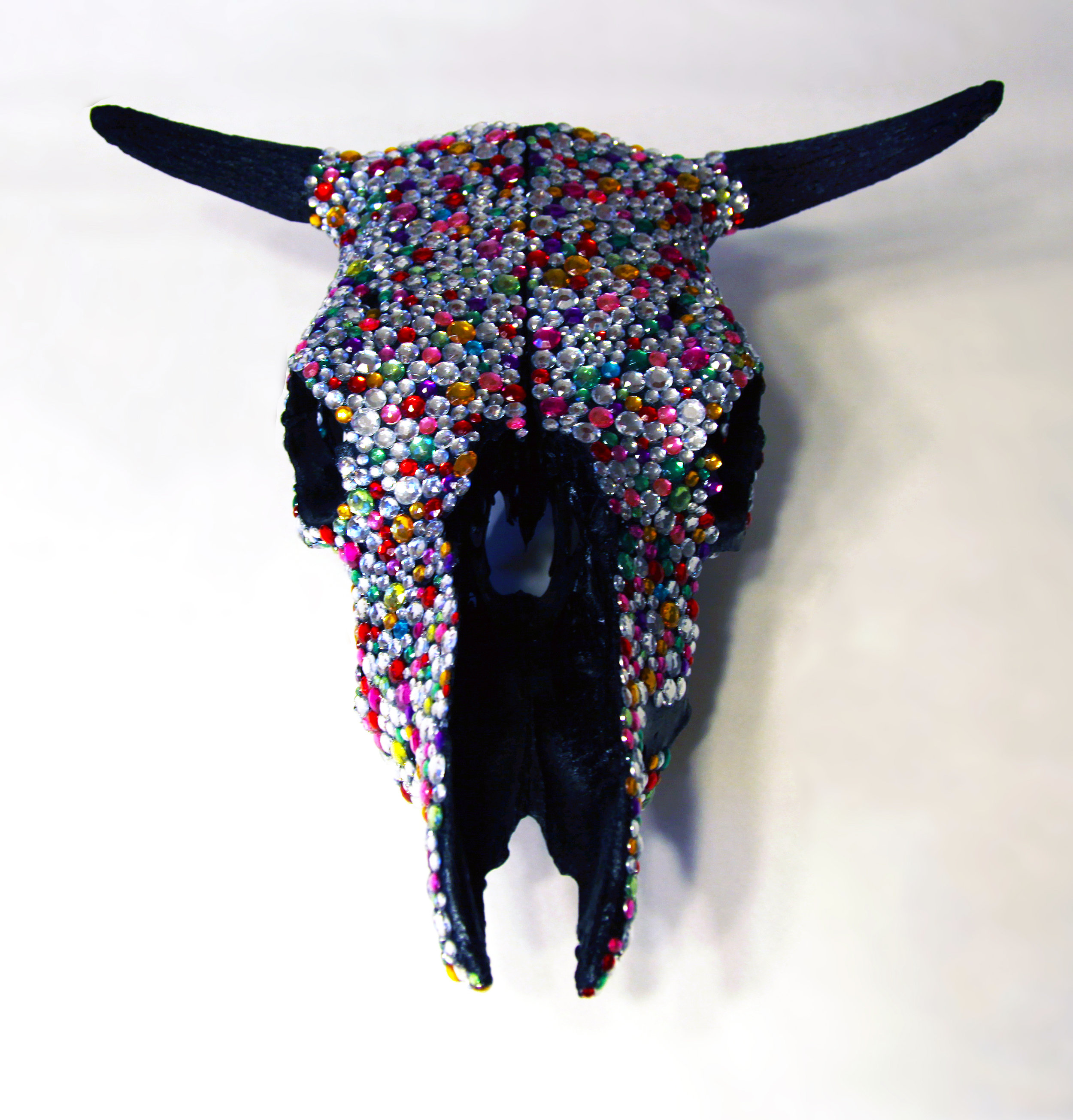 If you can't dazzle them with brilliance… , 2012  Bull skull (natural bone), acrylic rhinestones, paint  16 X 18 X 12 in  View Artsy to purchase