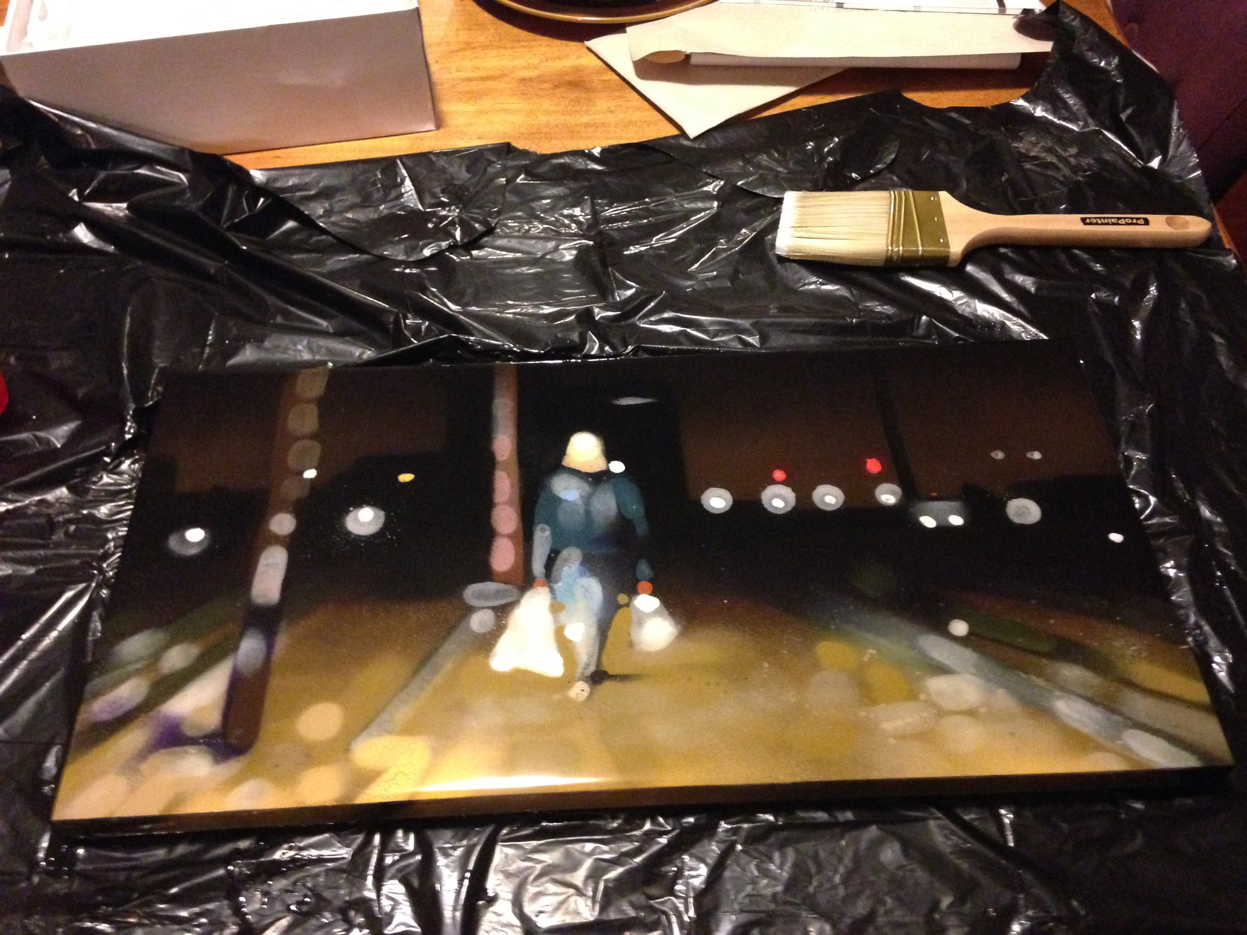"""Fresh Epoxy/Resin coated small piece - The Writer 12""""x24"""" Spray Paint on Wood"""