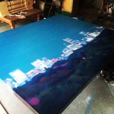 A cityscape getting a last once over in my garage studio