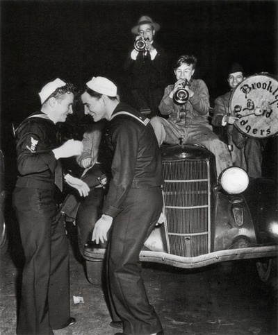 """""""There Was Dancing"""" Brooklyn, 1945. By Weegee (Arthur Fellig). Sailors. WWII."""