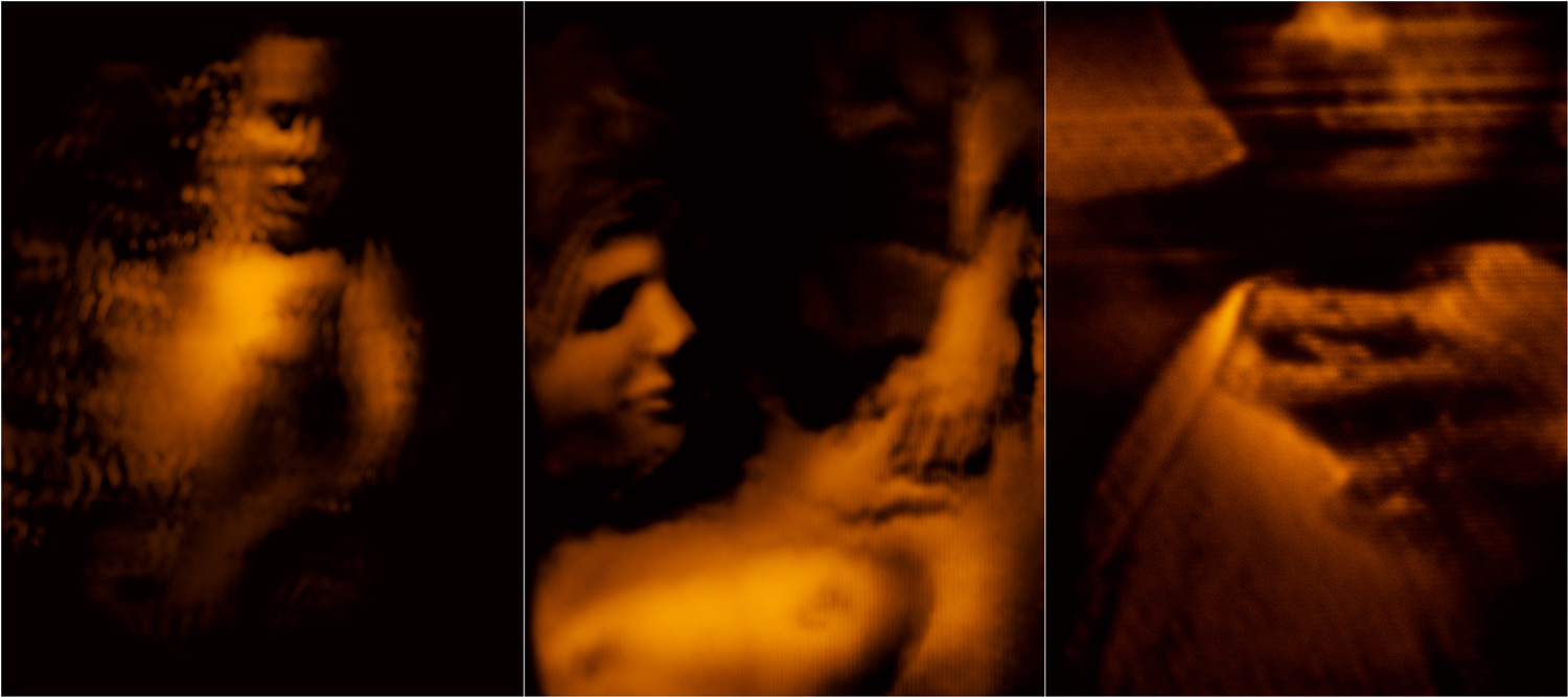 Illuminations of a living woman  2007 Triptych of chromogenic prints Each print 121.9 H x 91.4 W cm / 48 x 36 in