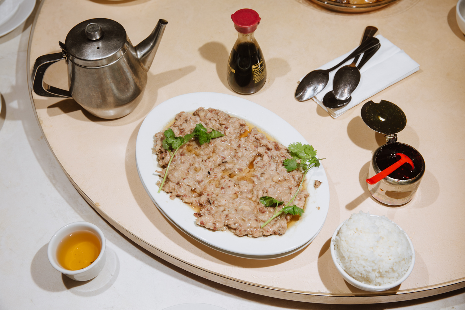 The humble and homey (also homely) steamed pork hash.