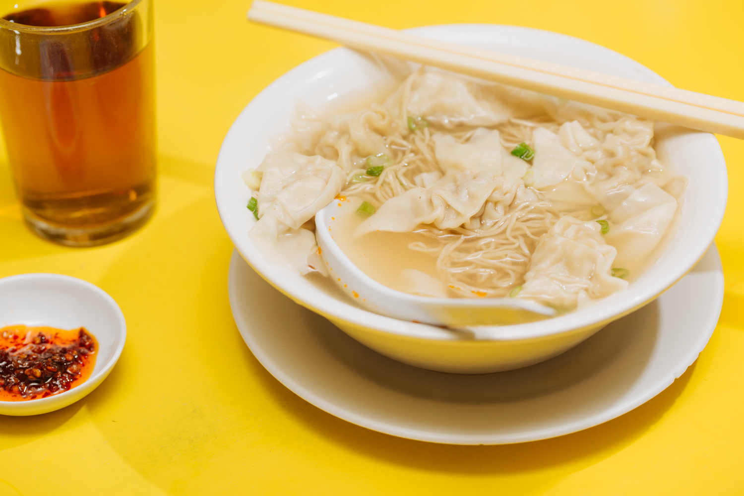 Won ton noodle soup, their signature, is classic Hong Kong fare.
