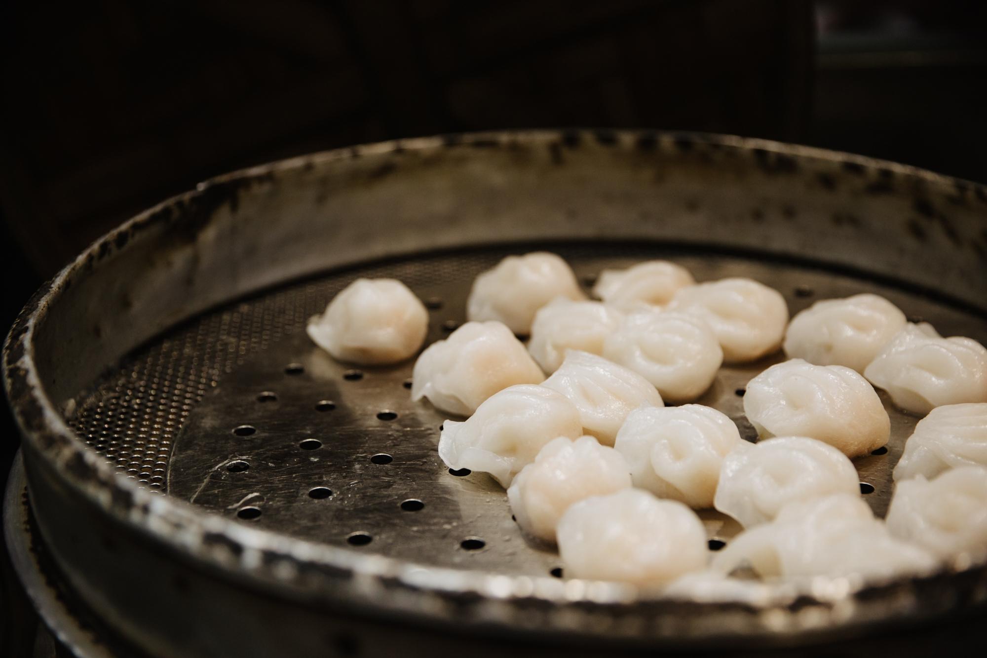 Fresh har gow (shrimp dumplings) in the steamer