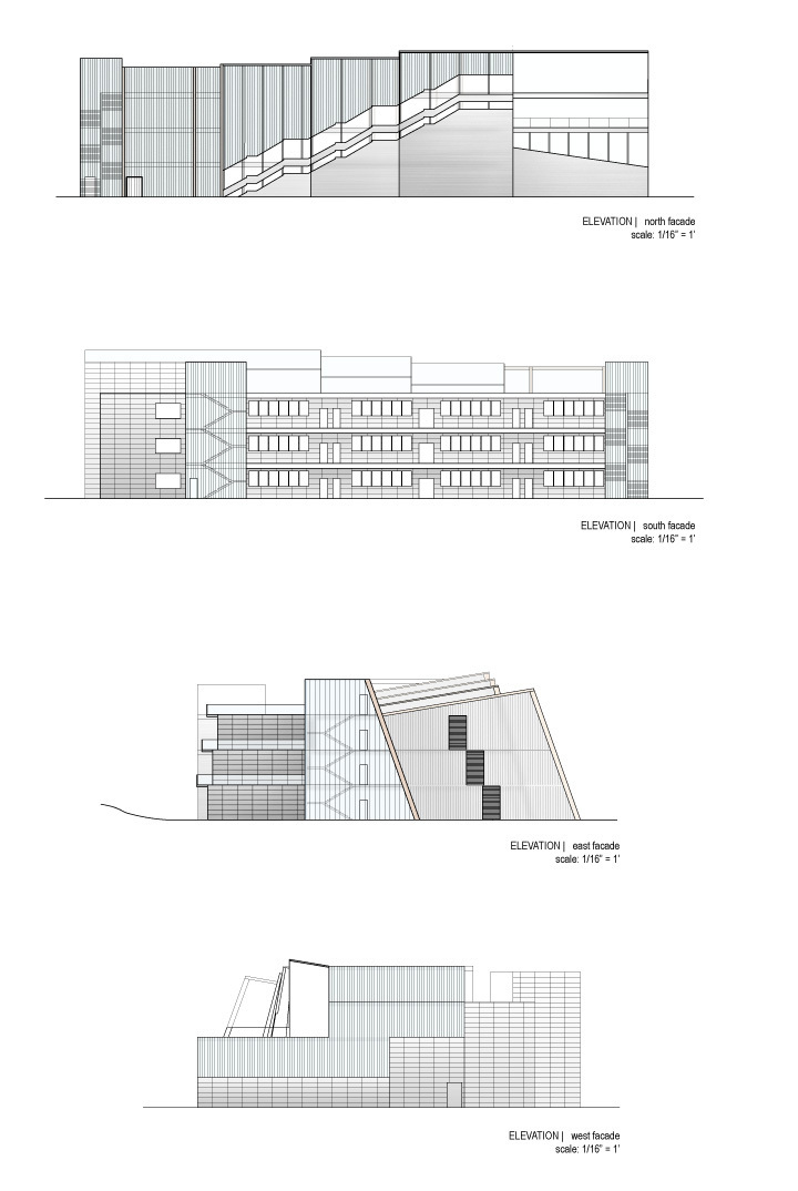 Elevation | Depicting materials of metal panels, transparency and timber