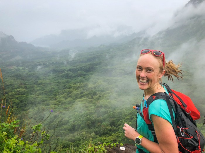 Getting up into the cloud on the 3 Coconuts Pass Trail, Moorea, Tahiti.